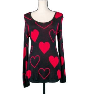 Style & Co. Black & Red Heart Print Sweater Size S